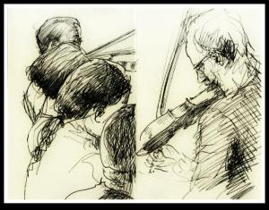 'The fiddlers; Ben Paley.' Drawings. ©Dom Ramos