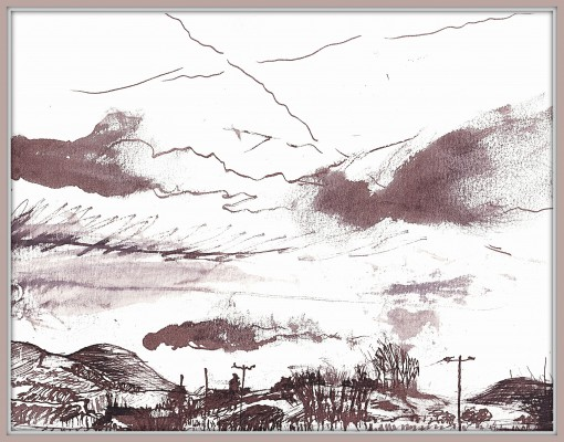 Reed pen drawing of the Marshes below Lewes